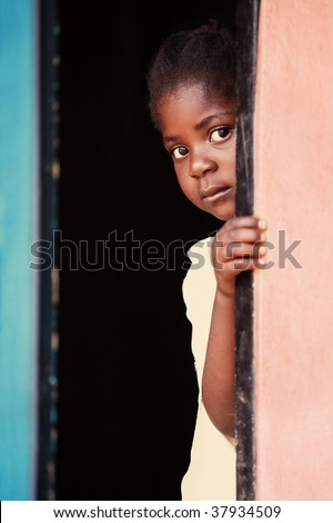 Portrait of poor African child, location Mmankodi village, Botswana