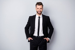 Portrait of positive clever start-up expert man feel content emotion ready decide decisions put hands pockets wear formalwear clothing isolated over grey color background