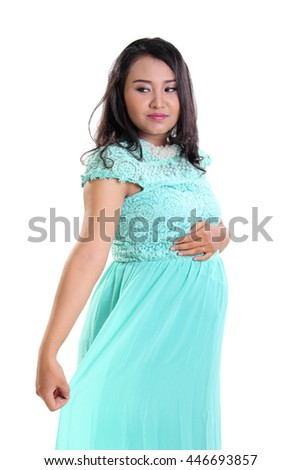 68c16f8cc97 Free photos Beautiful pregnant woman in full length standing side on ...