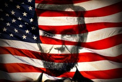 Portrait of President Abraham Lincoln and American flag, 4th of July, Civil War, united states president, history, historical, honest, holidays, famous, slavery, racism, black lives matter, battle
