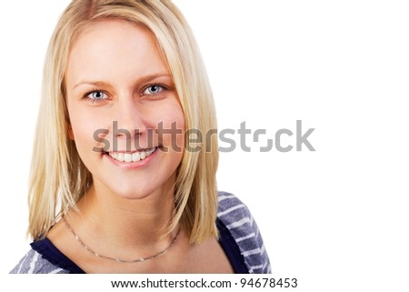 Portrait of pretty blonde woman cheerful looking. Studio shot against a white background.