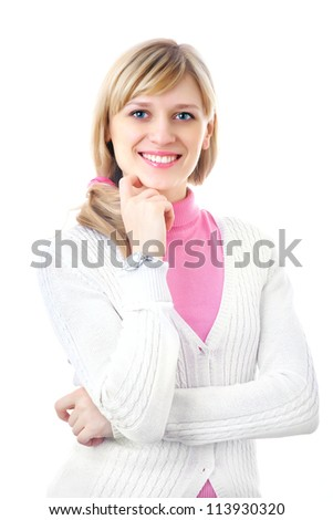 Portrait of pretty blonde woman  on the white background
