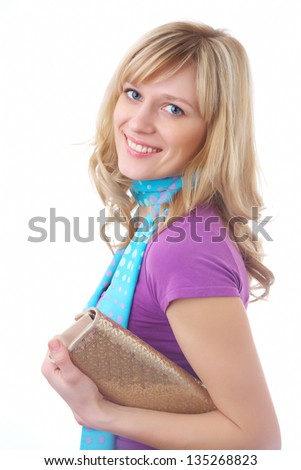 Portrait of pretty blonde woman with handbag on the white background