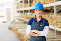 portrait of pretty female industrial worker