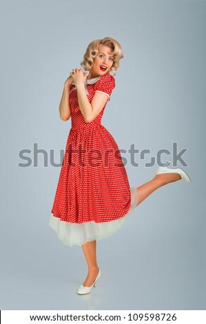 portrait of pretty girl in the retro style