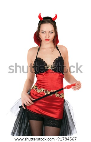 stock photo : Portrait of pretty girl is wearing a sexy devil costume