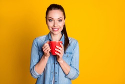 Portrait of pretty lovely girl have free time hold hot latte cup wear good look clothes isolated over vivid color background