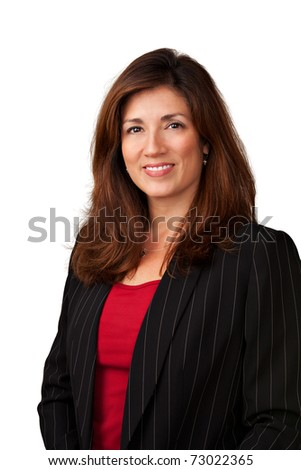 Portrait of pretty mature businesswoman wearing black jacket.  Isolated on white background.
