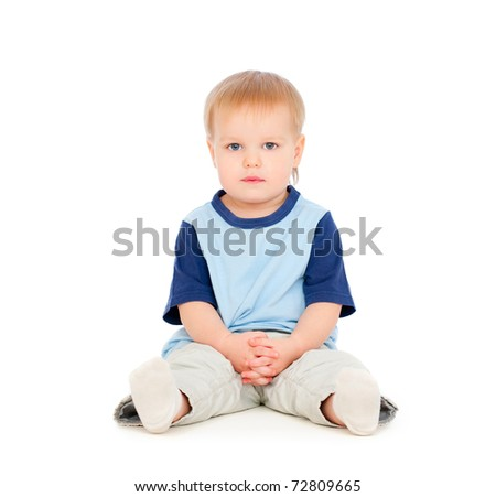 portrait of pretty small boy. isolated on white background