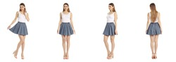 Portrait of pretty woman on white background wearing skirt