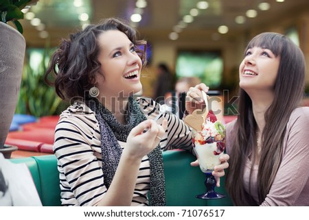 Portrait of pretty women talking and smiling