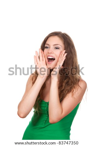 portrait of pretty young beautiful woman loud screaming or calling out to someone, isolated over white background
