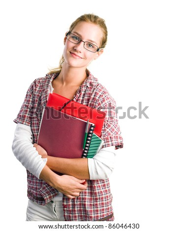 Portrait of pretty young student girl holding exercise books and folder isolated on white background. - stock photo