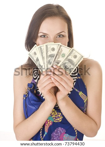 portrait of pretty young woman with money, isolated on white background