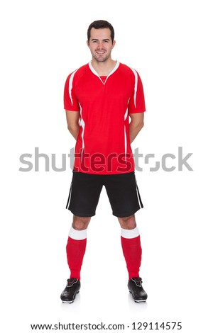 Of professional soccer player isolated on white stock photo