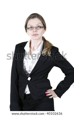 Portrait of purposeful business woman over white background.