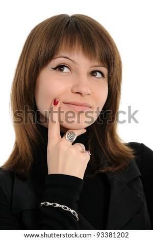 Portrait of reflecting young woman over white background