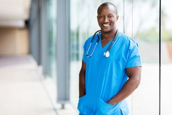 portrait of relaxed afro american medical doctor