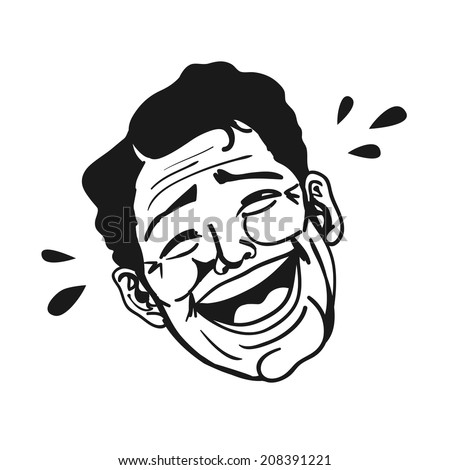 Portrait of retro man laughing out loud