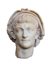 Portrait of Roman emperor Nero (Reign 54-68 AD), isolated