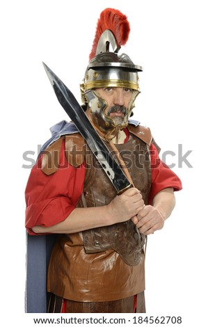 Portrait of Roman soldier holding a sword isolated on a white background