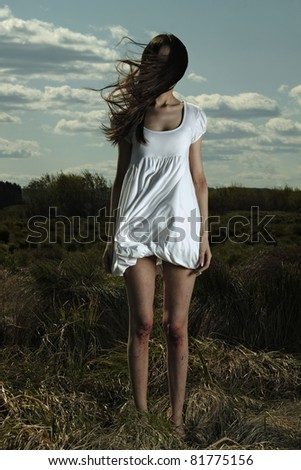 Portrait of romantic woman in nature - outdoors