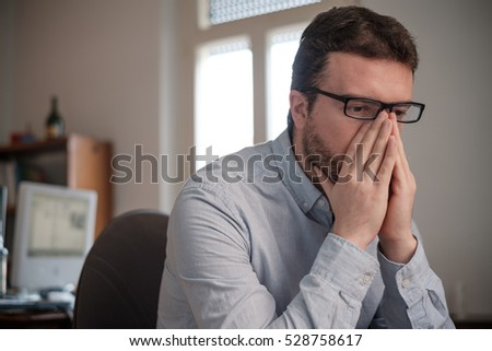 Portrait of sad office white collar worker Сток-фото ©