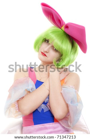 Portrait of sadly girl the clown
