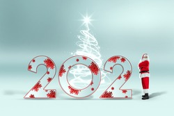 Portrait of Santa Claus in full growth in a red suit and numbers 2021, light background. Concept for christmas eve, vacation, holiday banner, new year