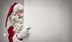 portrait of Santa Claus showing billboard