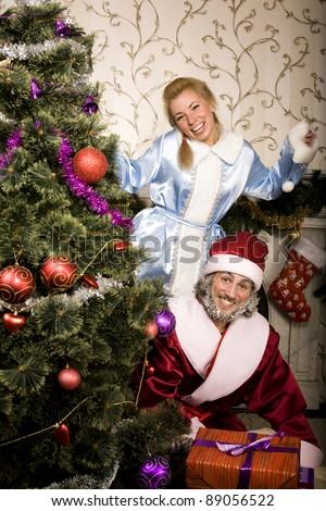 portrait of Santa Claus with Snow Maiden