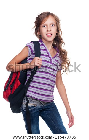 portrait of schoolgirl with knapsack. isolated on white background