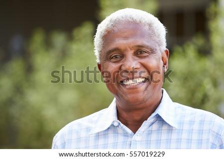 Portrait of senior African American man, close up