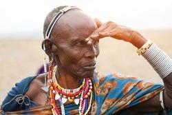 Portrait of senior, african woman, Masai Mara
