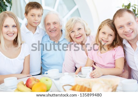 Portrait of senior and young couples with their children having dinner at home - stock photo