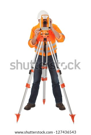 Portrait of Senior land surveyor working with theodelite. Isolated on white