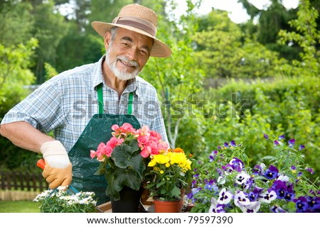 Portrait of senior man gardening