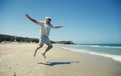 Portrait of senior man on the beach