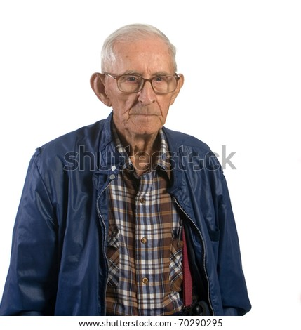 Portrait of senior man wearing eyeglasses. Shot against a white background.
