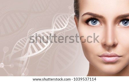 Portrait of sensual woman among white DNA chains. #1039537114