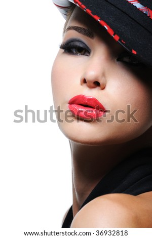 Portrait of sensuality stylish woman in the fashion hat with bright red lips