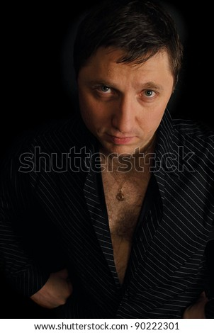 Portrait of serious  brutal and dramatic agressive  look  man over dark background.