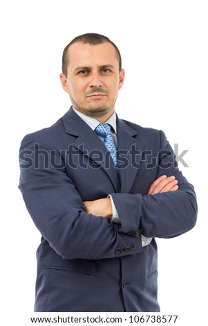 portrait of serious businessman isolated on white background