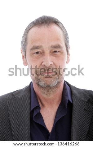 Portrait of serious middle aged man on white background