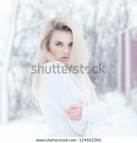 portrait of sexy blonde in winter