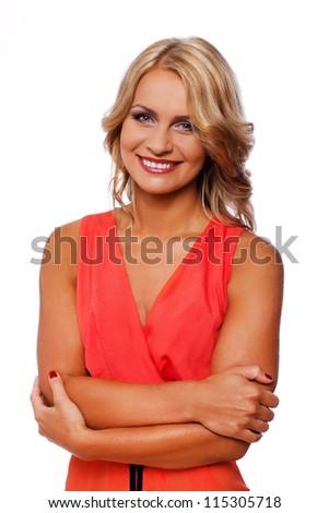 Portrait of sexy blonde woman posing in studio