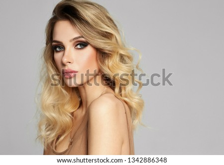 Portrait of sexy blonde woman with copy space  #1342886348