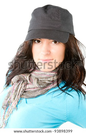 Portrait of sexy brunette woman with a beautiful  black hair in cap isolated on white - stock photo