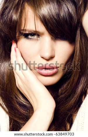 Portrait of sexy girl. Pretty sensual woman face - stock photo