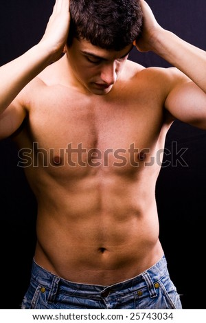 Portrait of sexy handsome muscular young man